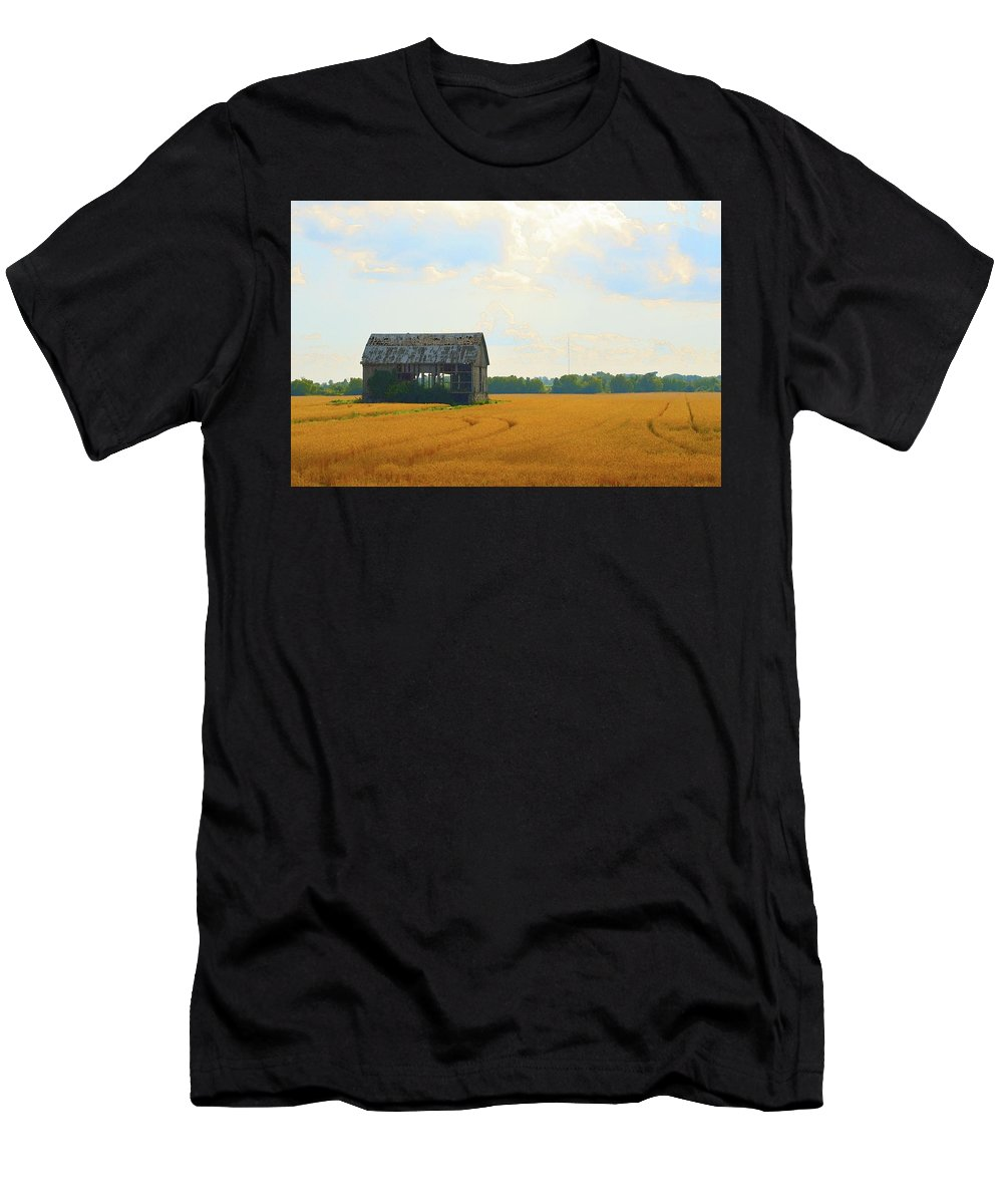 Abstract Men's T-Shirt (Athletic Fit) featuring the digital art Barn In A Field by Lyle Crump