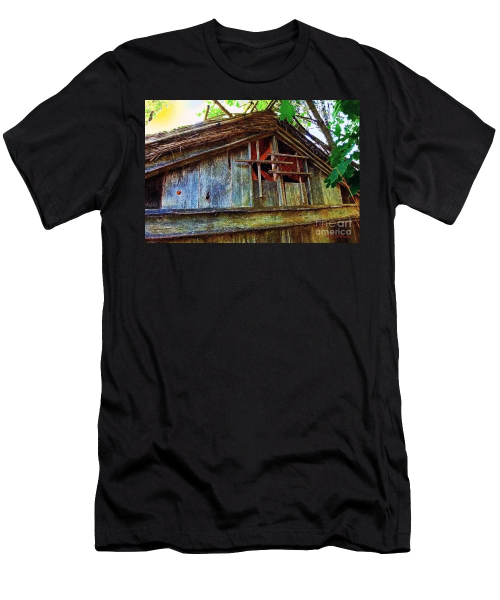 Barn Men's T-Shirt (Athletic Fit) featuring the painting Barn In Summer Colors by RC DeWinter