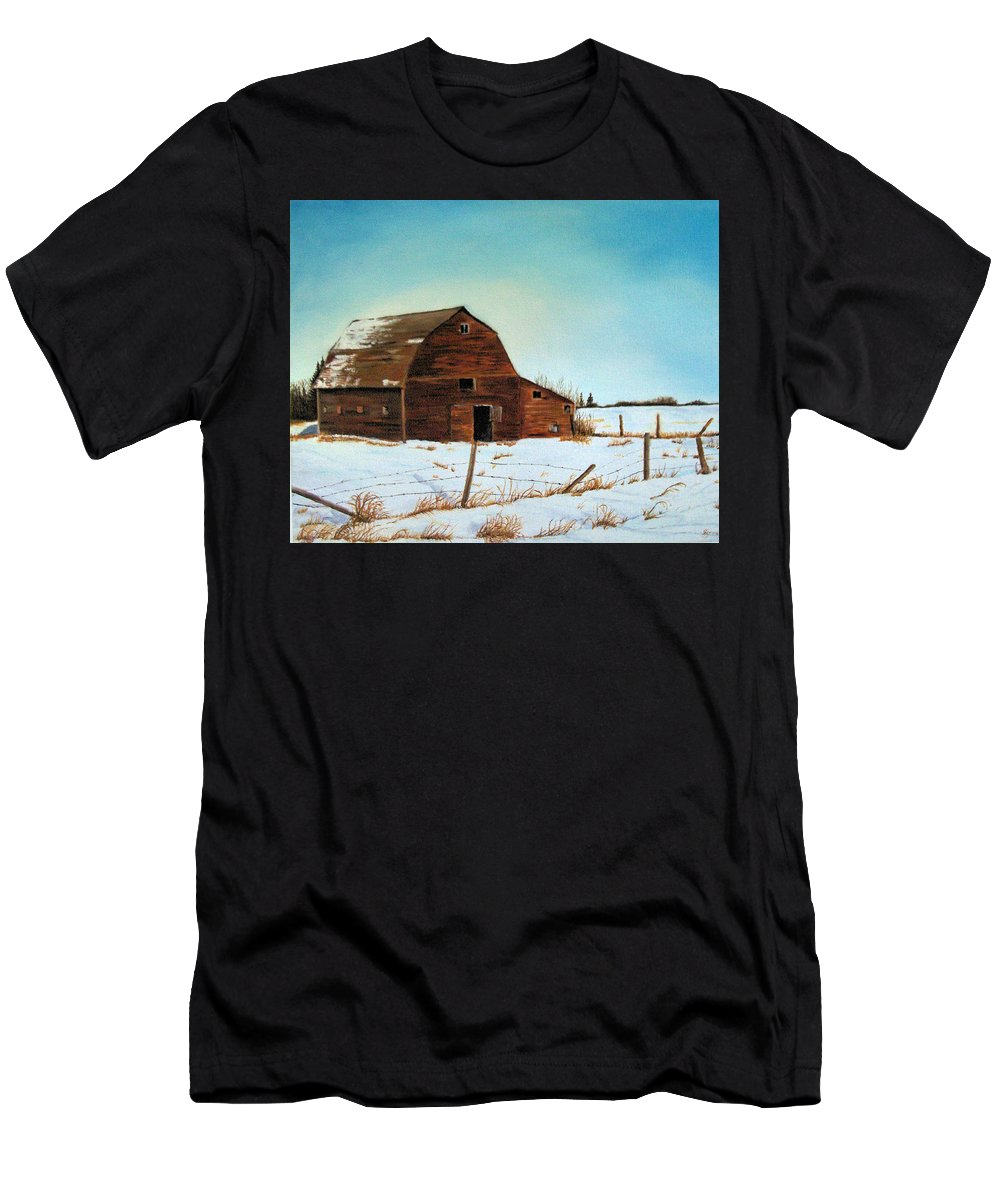 Barn Men's T-Shirt (Athletic Fit) featuring the painting Barn In Winter by Jeannette Sommers