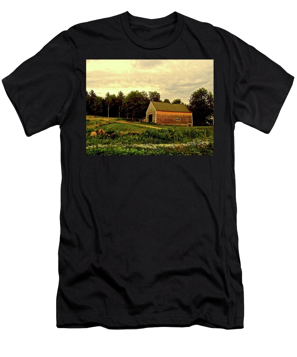 Barn Men's T-Shirt (Athletic Fit) featuring the photograph Barn With Wildflowers by Elizabeth Tillar