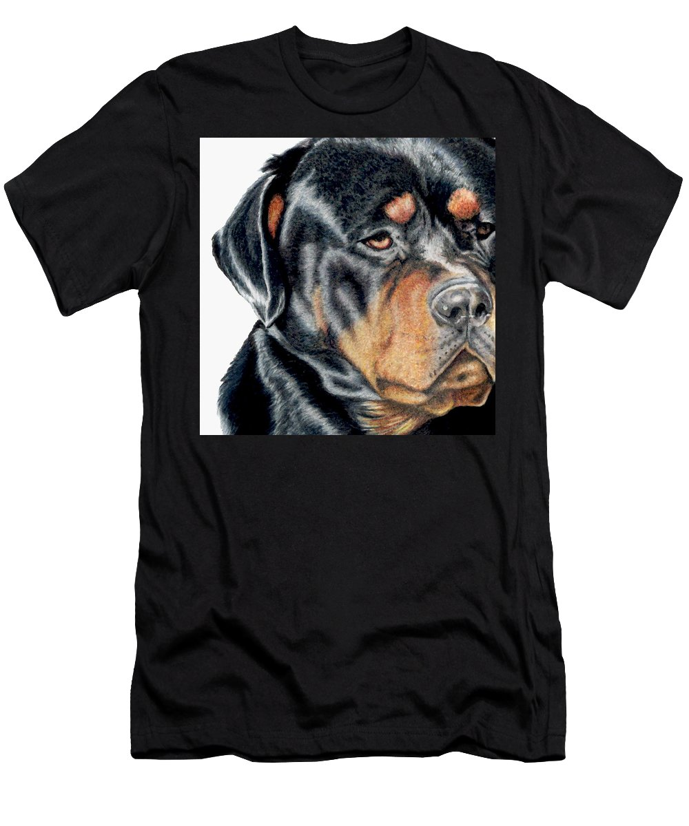 Rottweiler Men's T-Shirt (Athletic Fit) featuring the drawing Bart Detail by Kristen Wesch