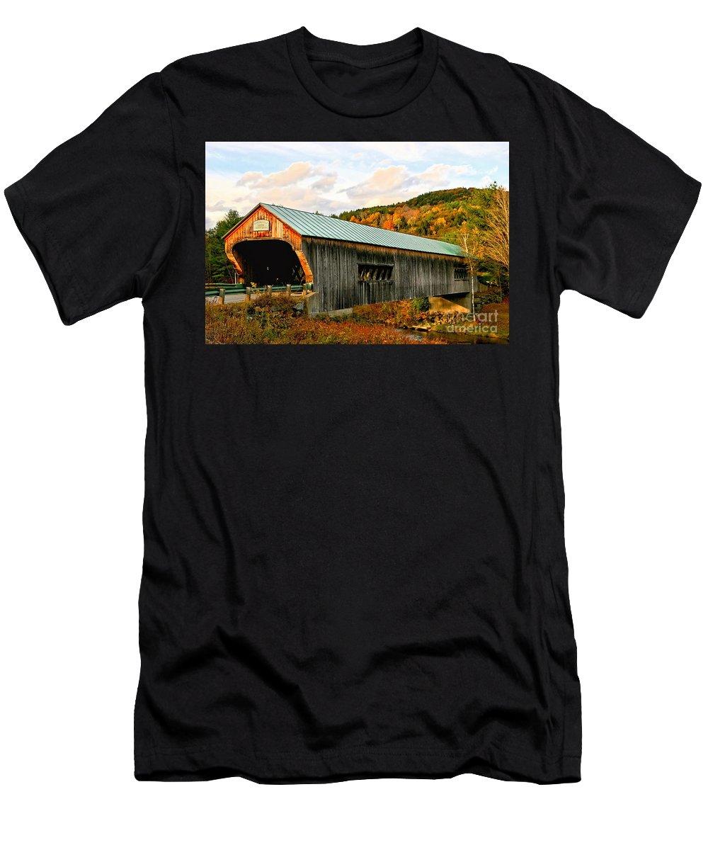 Covered Bridge Men's T-Shirt (Athletic Fit) featuring the photograph Bartonsville Covered Bridge by DJ Florek