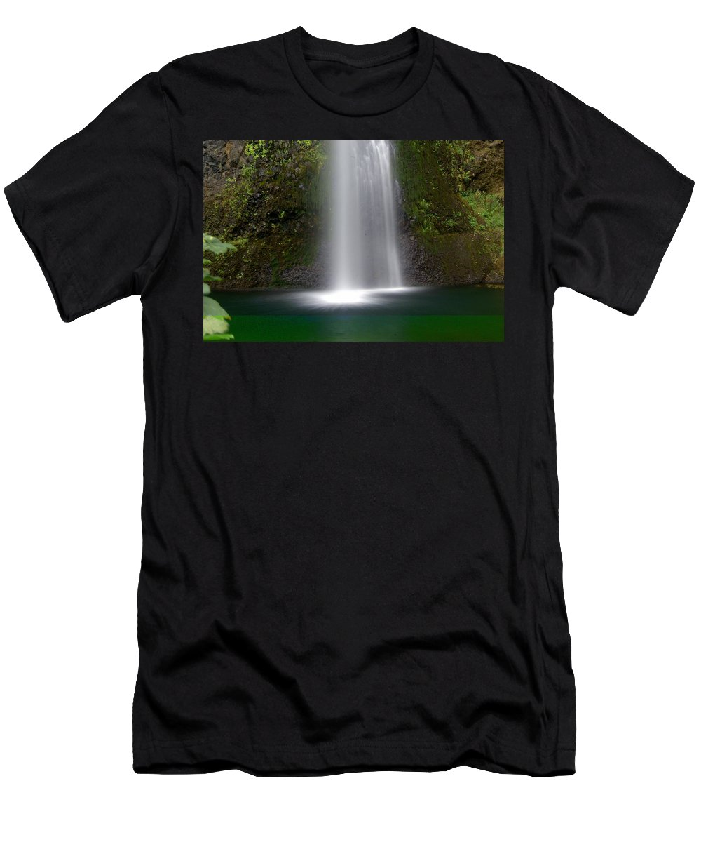 Waterfals Men's T-Shirt (Athletic Fit) featuring the photograph Base Of The Falls by Marty Koch