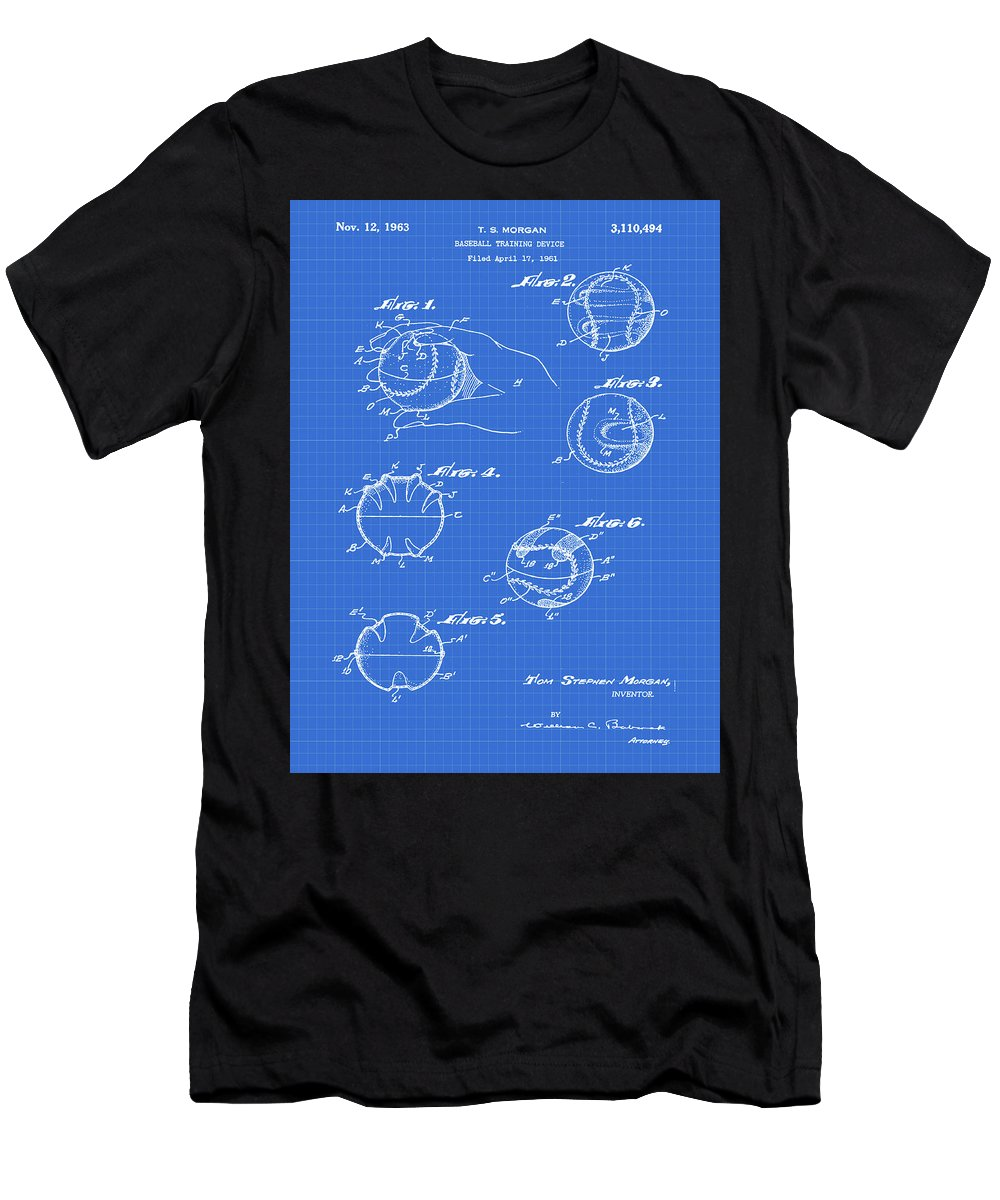 Baseball Men's T-Shirt (Athletic Fit) featuring the photograph Baseball Training Device Patent 1961 Blueprint by Bill Cannon
