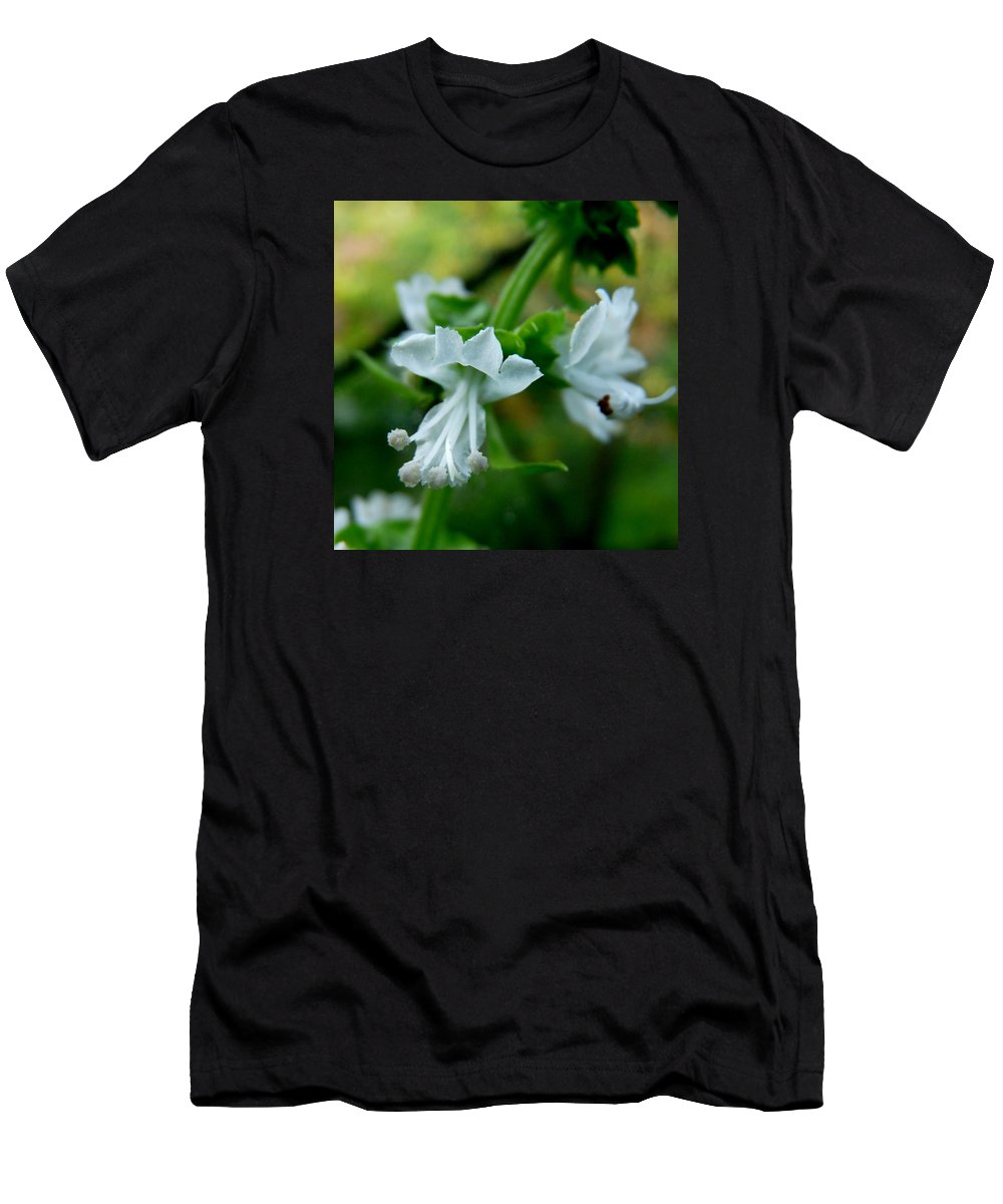 Basil Men's T-Shirt (Athletic Fit) featuring the photograph Basil Bloom by Valerie Ornstein