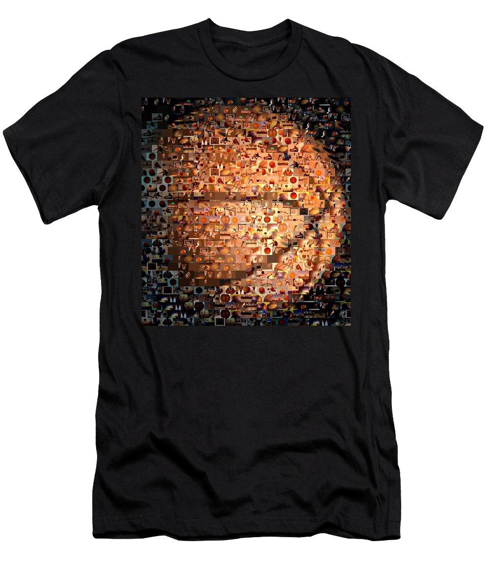 Hoops Men's T-Shirt (Athletic Fit) featuring the digital art Basketball Mosaic by Paul Van Scott