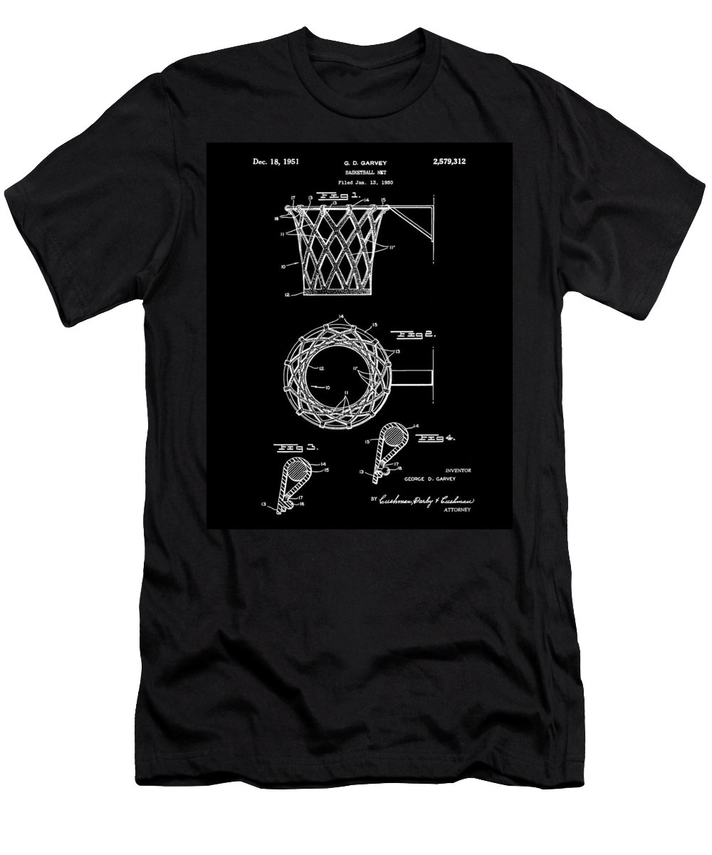 Basketball Men's T-Shirt (Athletic Fit) featuring the drawing Basketball Net Patent 1951 In Black by Bill Cannon