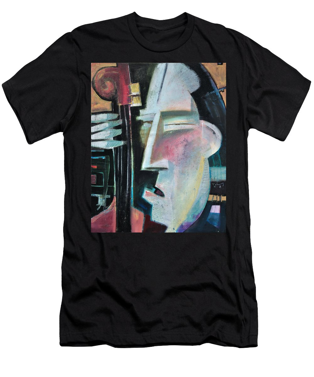 Jazz Men's T-Shirt (Athletic Fit) featuring the painting Bass Face by Tim Nyberg