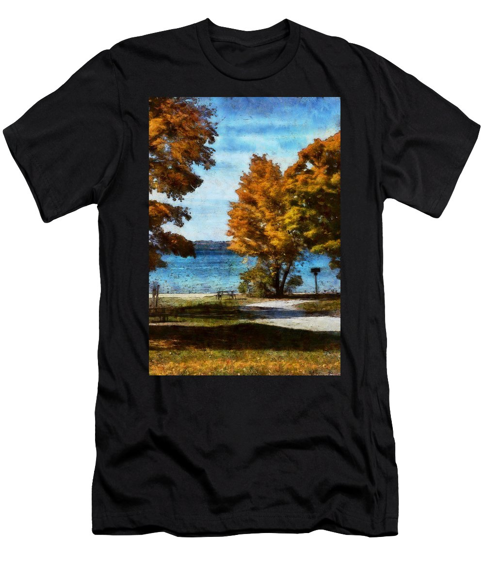 Autumn Men's T-Shirt (Athletic Fit) featuring the digital art Bass Lake October by JGracey Stinson