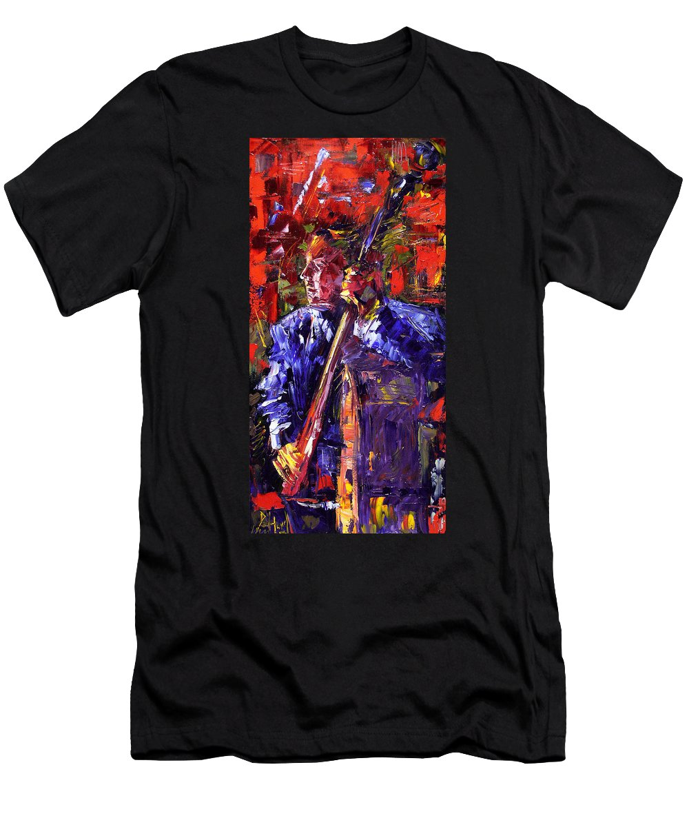 Jazz Men's T-Shirt (Athletic Fit) featuring the painting Bass Walk-up by Debra Hurd