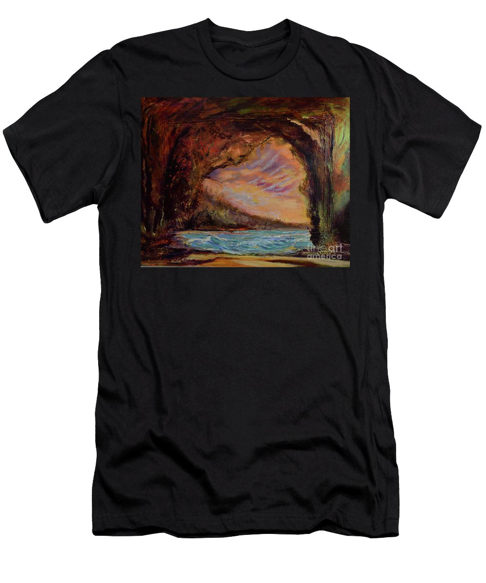 Art Paintings T-Shirt featuring the painting Bat Cave St. Philip Barbados by Julianne Felton