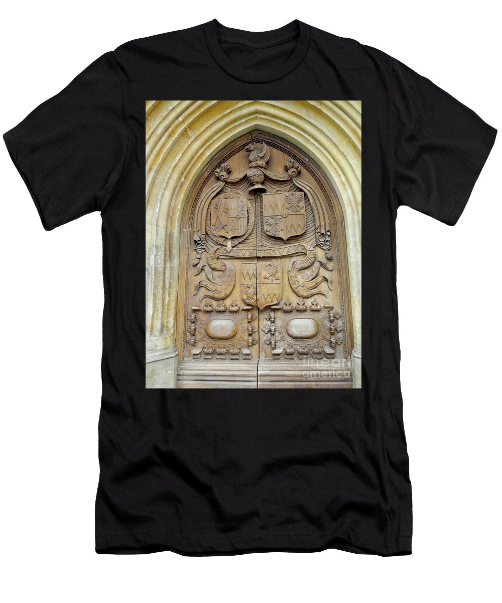 Cathedral Men's T-Shirt (Athletic Fit) featuring the photograph Bath Abbey Door by Loreta Mickiene