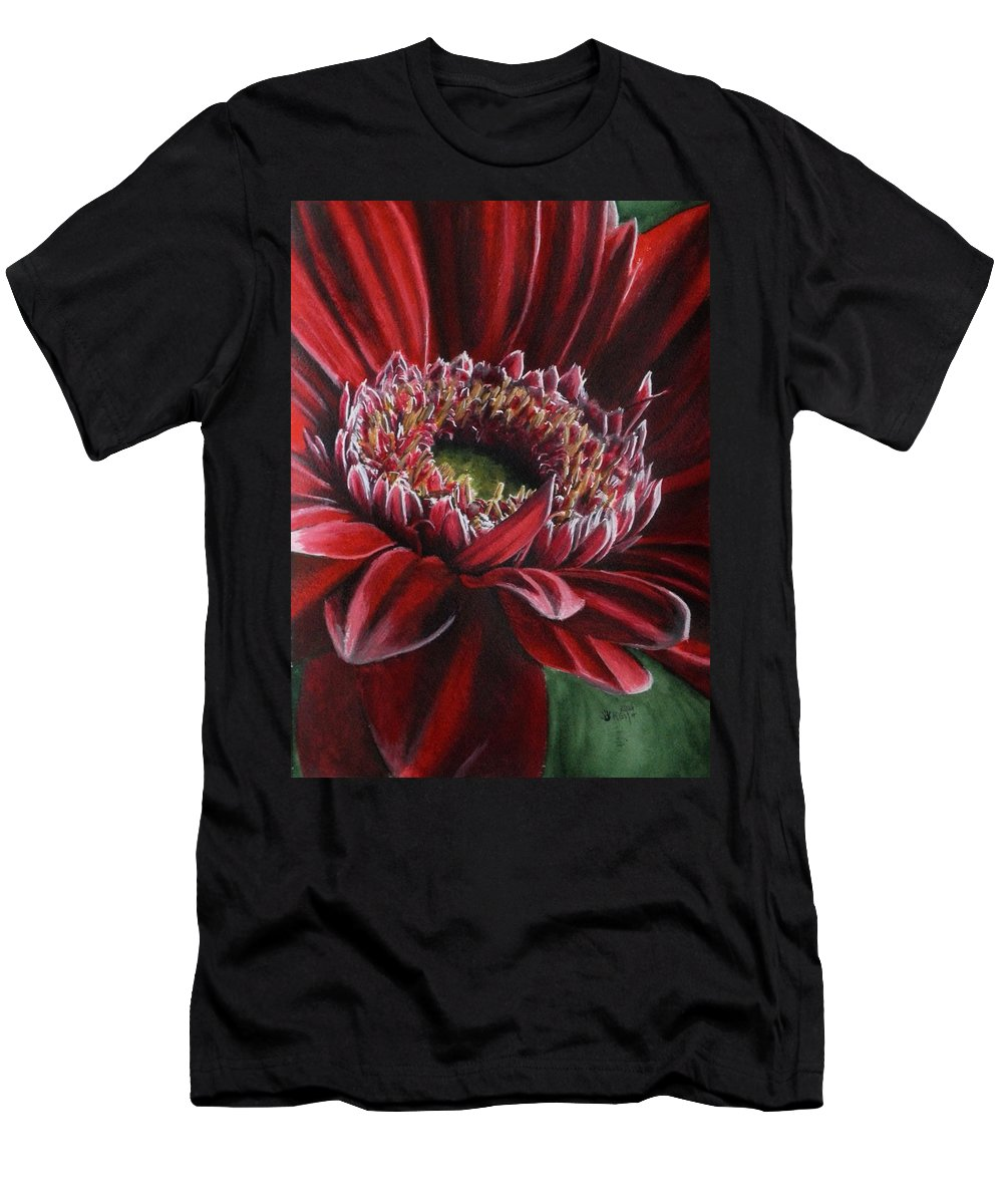 Gerbera Men's T-Shirt (Athletic Fit) featuring the painting Bauble by Barbara Keith