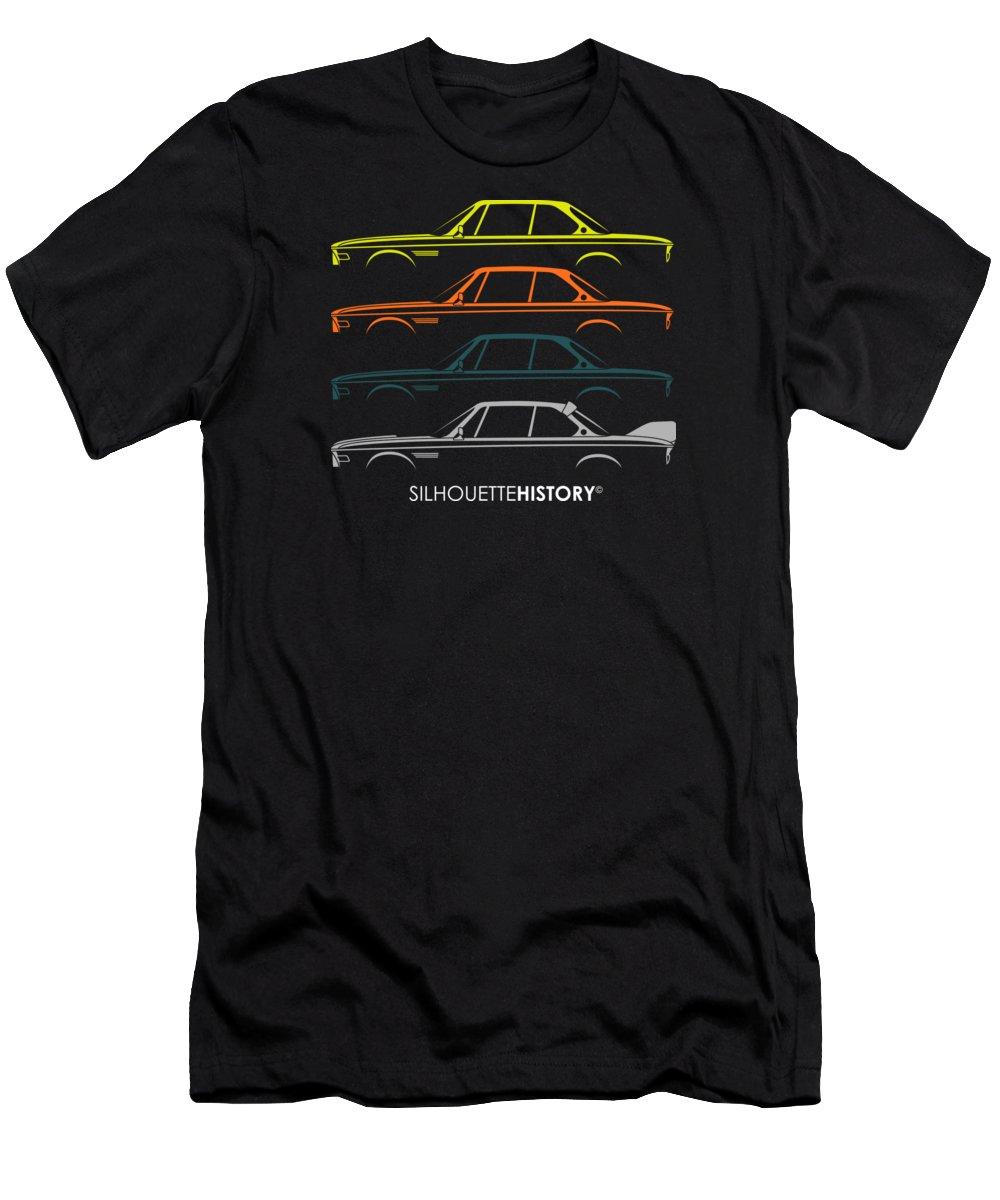 Bavarian Car Men's T-Shirt (Athletic Fit) featuring the digital art Bavarian Gt 50 Years Silhouettehistory by Gabor Vida