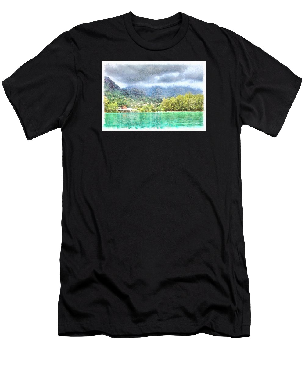Ocean Men's T-Shirt (Athletic Fit) featuring the photograph Bay And Greenery by Ashish Agarwal