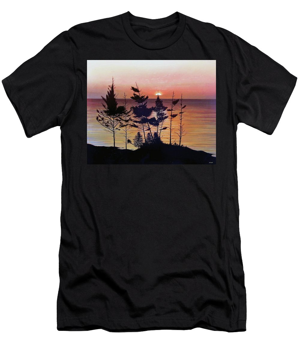 Bay Of Fundy Men's T-Shirt (Athletic Fit) featuring the painting Bay Of Fundy Sunset by Kenneth M Kirsch