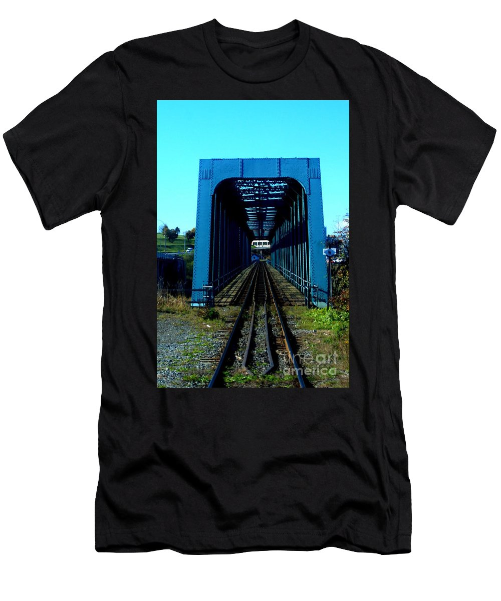 This Is A Photo Of A Train Trestle That Crosses Near The Bay Of Fundy Men's T-Shirt (Athletic Fit) featuring the photograph Bay Of Fundy Train Trestle by William Rogers