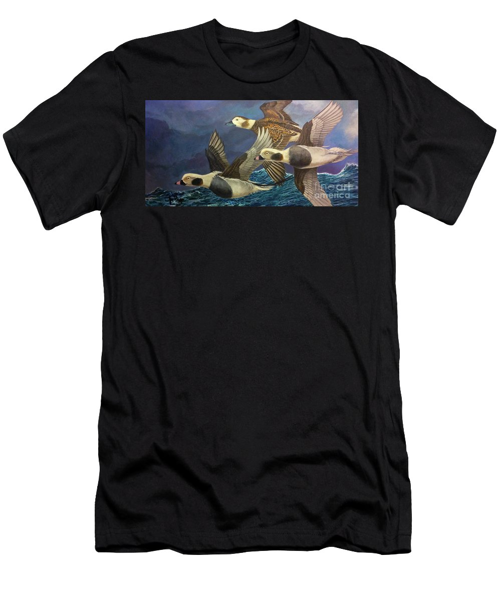 Oldsquaw Men's T-Shirt (Athletic Fit) featuring the painting Bay Runners by Joseph Rizzo