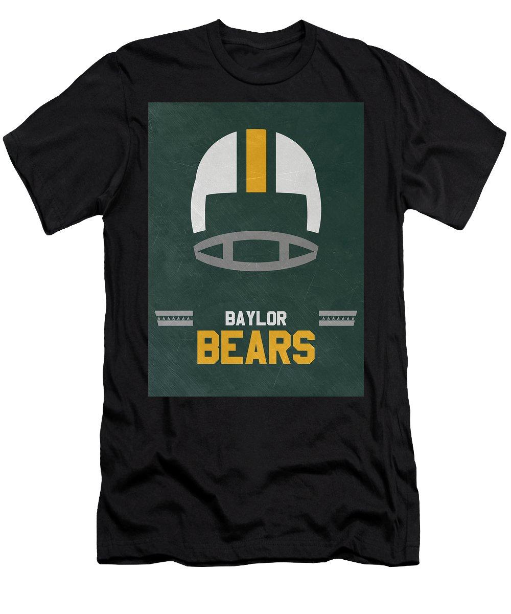 Bears Men's T-Shirt (Athletic Fit) featuring the mixed media Baylor Bears Vintage Football Art by Joe Hamilton