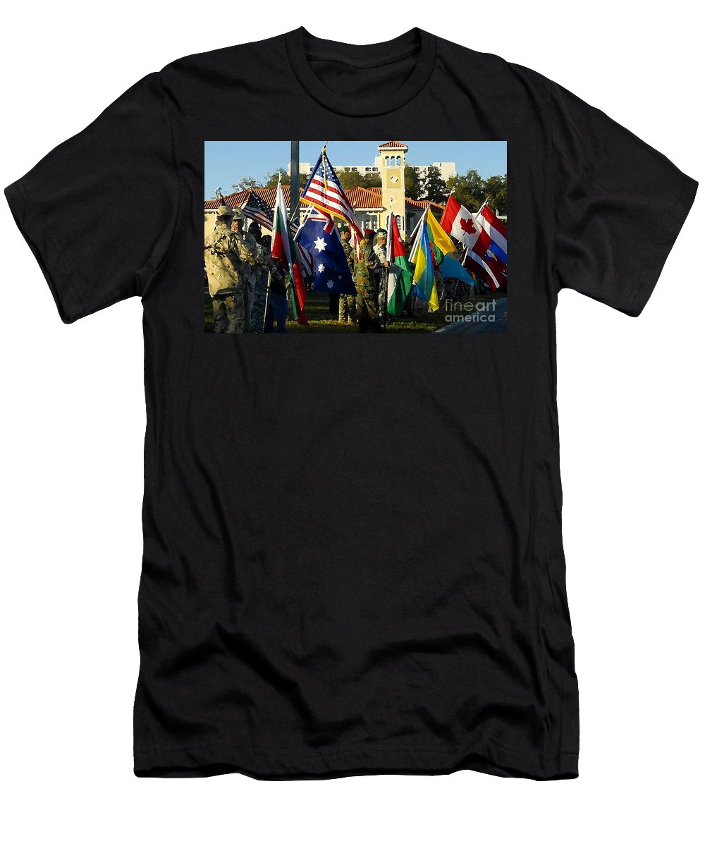 Bayshore Men's T-Shirt (Athletic Fit) featuring the photograph Bayshore Patriots by David Lee Thompson