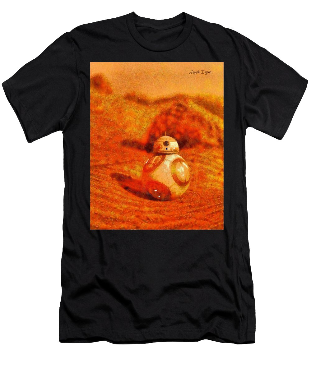 Toy Men's T-Shirt (Athletic Fit) featuring the painting Bb-8 In The Desert - Pa by Leonardo Digenio