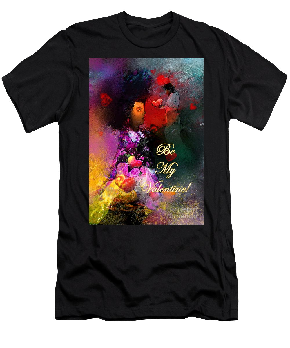 Love Men's T-Shirt (Athletic Fit) featuring the painting Be My Valentine by Miki De Goodaboom