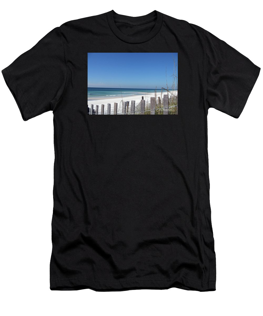 Beach Men's T-Shirt (Athletic Fit) featuring the photograph Beach Behind The Fence by Christiane Schulze Art And Photography