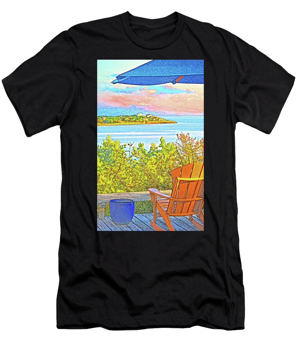 Summer Men's T-Shirt (Athletic Fit) featuring the digital art Beach House On The Bay by William Sargent