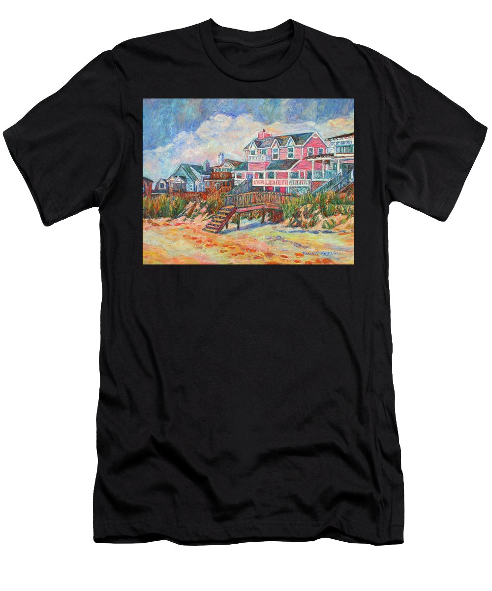 Landscape Men's T-Shirt (Athletic Fit) featuring the painting Beach Houses At Pawleys Island by Kendall Kessler