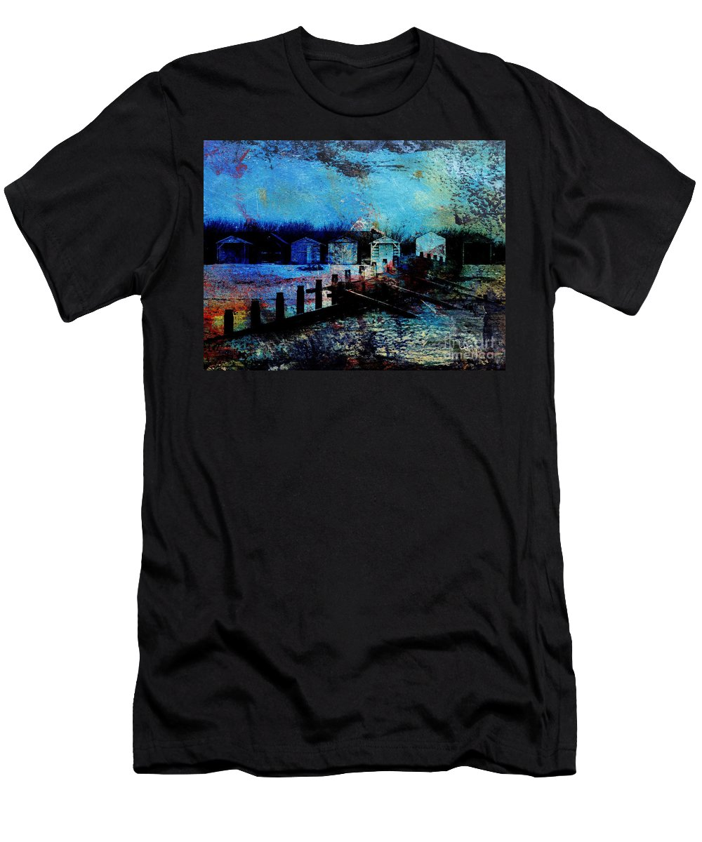 Beach Art Men's T-Shirt (Athletic Fit) featuring the painting Beach Huts 2 by Callan Art
