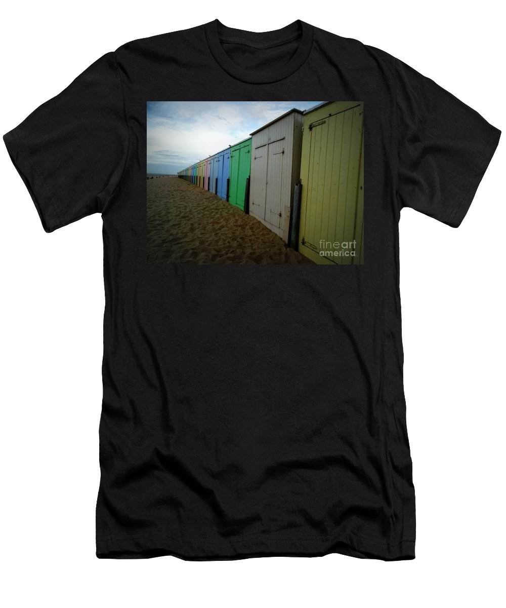 Beach Hut Men's T-Shirt (Athletic Fit) featuring the photograph Beach Huts by Lainie Wrightson