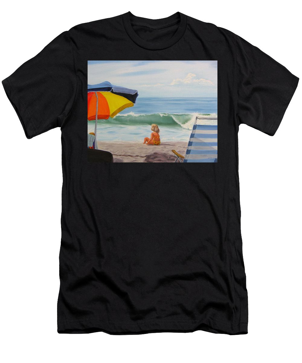 Seascape Men's T-Shirt (Athletic Fit) featuring the painting Beach Scene - Childhood by Lea Novak