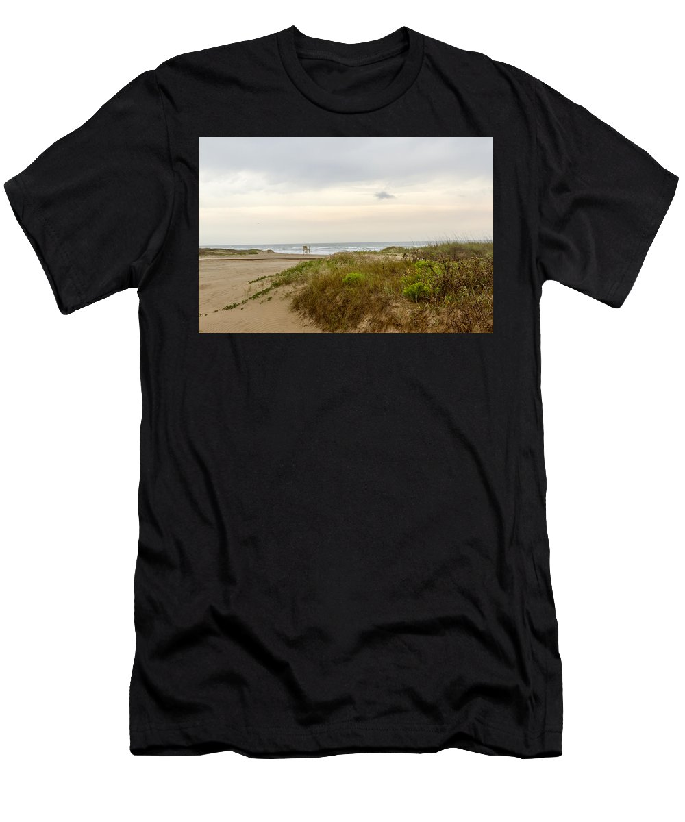 American Men's T-Shirt (Athletic Fit) featuring the photograph Beach Sunrise At South Padre Island, Tx by Karen Foley