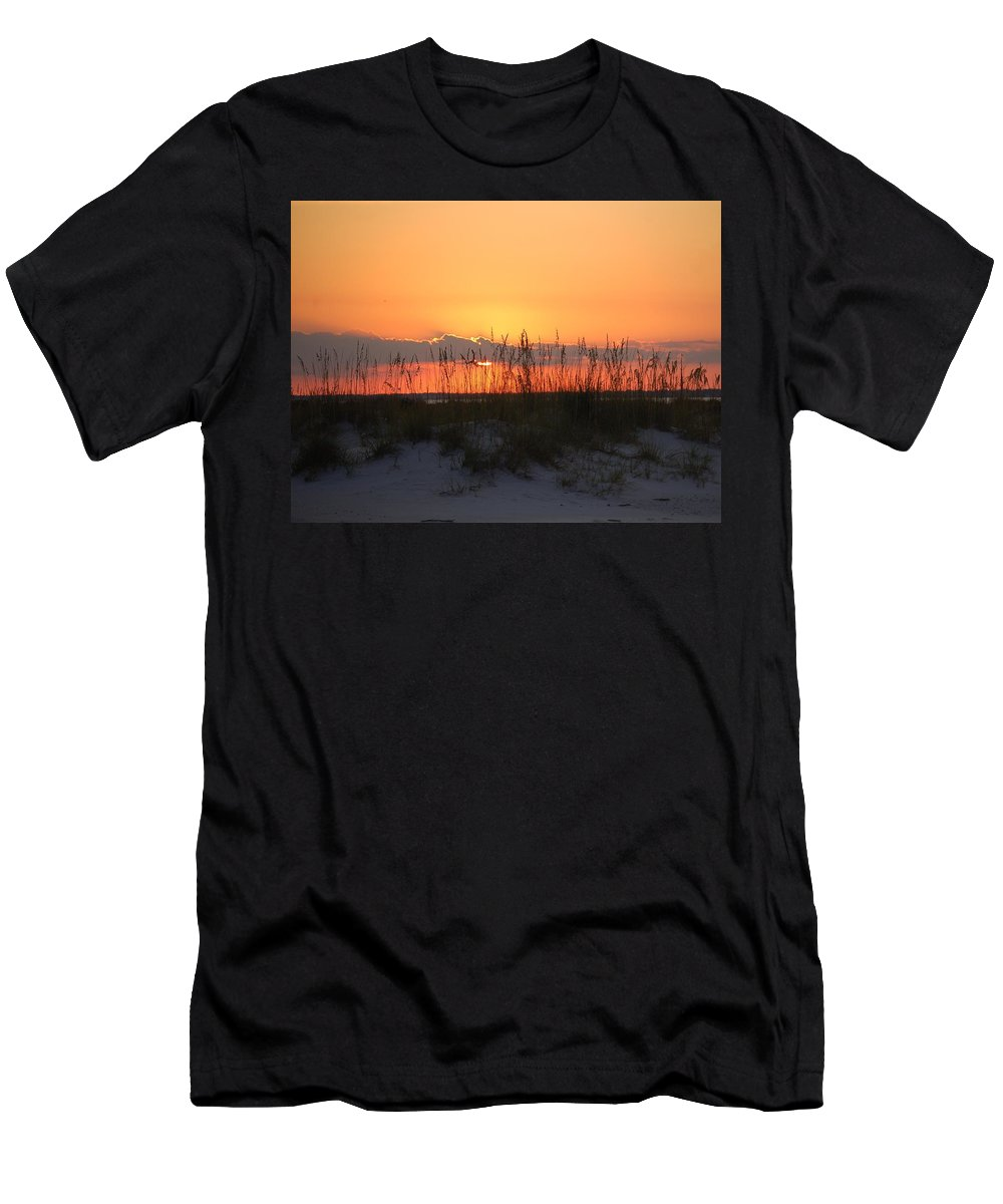 Beach Men's T-Shirt (Athletic Fit) featuring the photograph Beach Sunset by Lucy Bounds