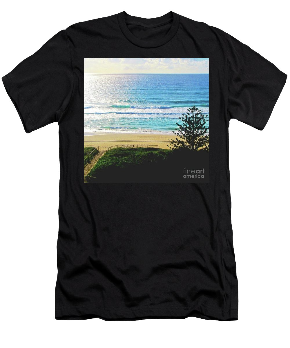 Beach Men's T-Shirt (Athletic Fit) featuring the photograph Beach View by Maddison May