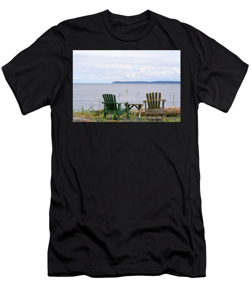 Orcas Island Men's T-Shirt (Athletic Fit) featuring the photograph Beach With A View by Art Block Collections