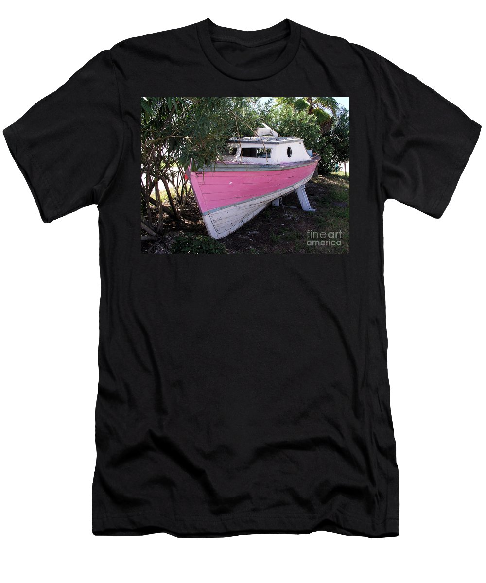 Boat; Old; Faded; Dreams; Pink; Beached; Greek; Wrecked; Paint; Florida; Ship; Flotsom; Grounded; Dr Men's T-Shirt (Athletic Fit) featuring the photograph Beached Dreams At Port Canaveral by Allan Hughes