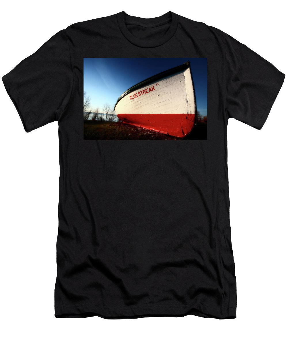 Fine Art Men's T-Shirt (Athletic Fit) featuring the digital art beached fishing boat at Hecla on Lake Winnipeg by Mark Duffy