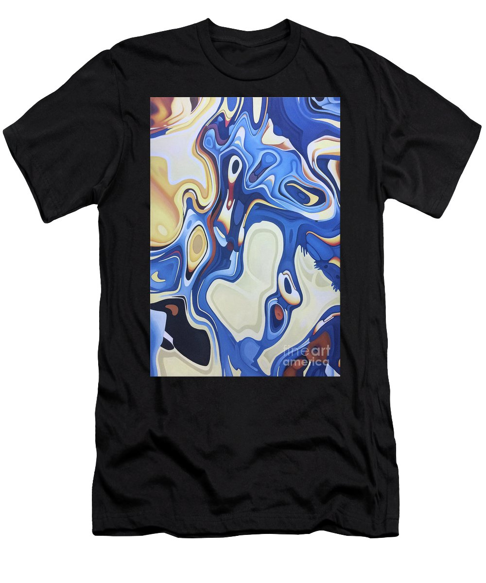 Painting Acrylic Abstract Handmade Brush Fluid Motion Beach Surf Turf Salt Giraffe Sand Water Man Dope Art Pop Surreal Kevin John Graham Paint Men's T-Shirt (Athletic Fit) featuring the painting Beached by Kevin J Graham