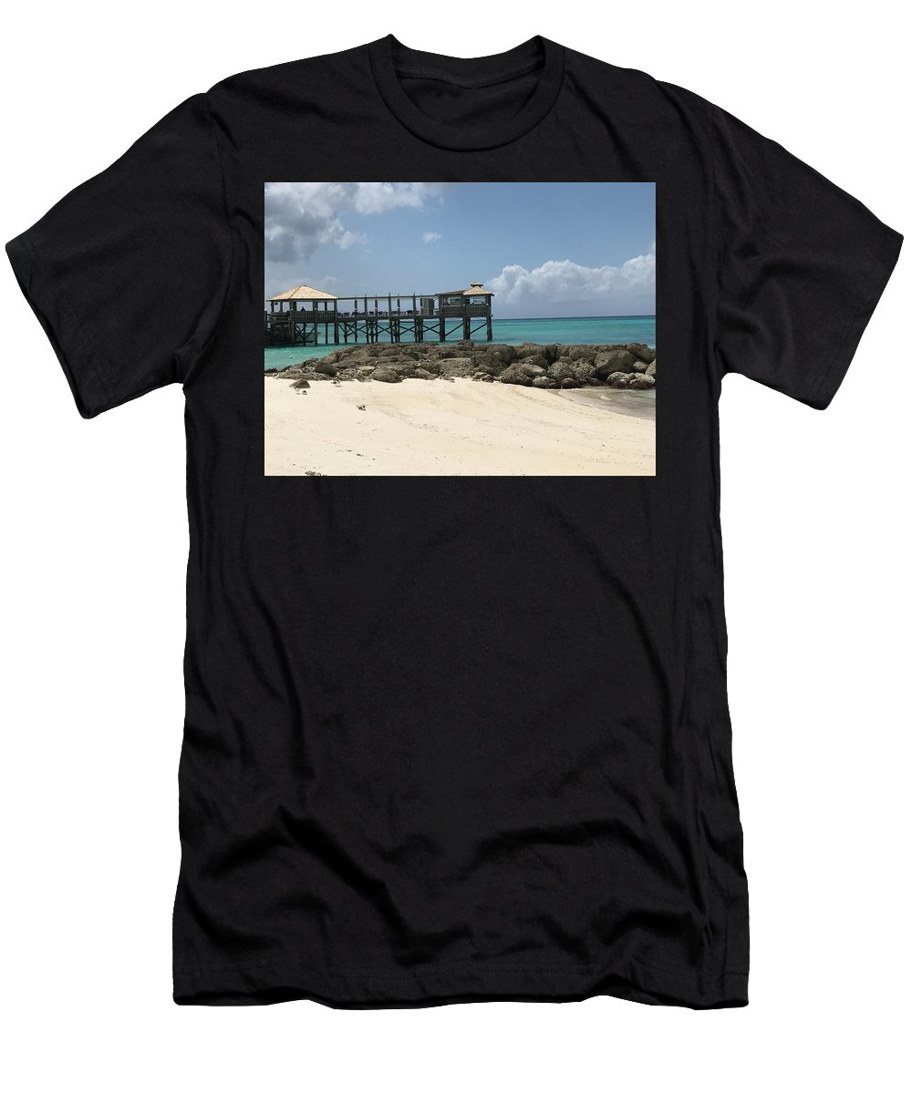 Jetty Men's T-Shirt (Athletic Fit) featuring the photograph Beachfront Pier by Alex Creighton