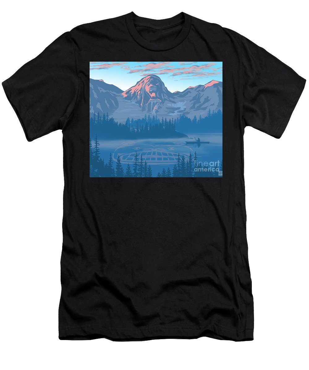 Bear Men's T-Shirt (Athletic Fit) featuring the painting Bear Country Scenic Landscape by Sassan Filsoof
