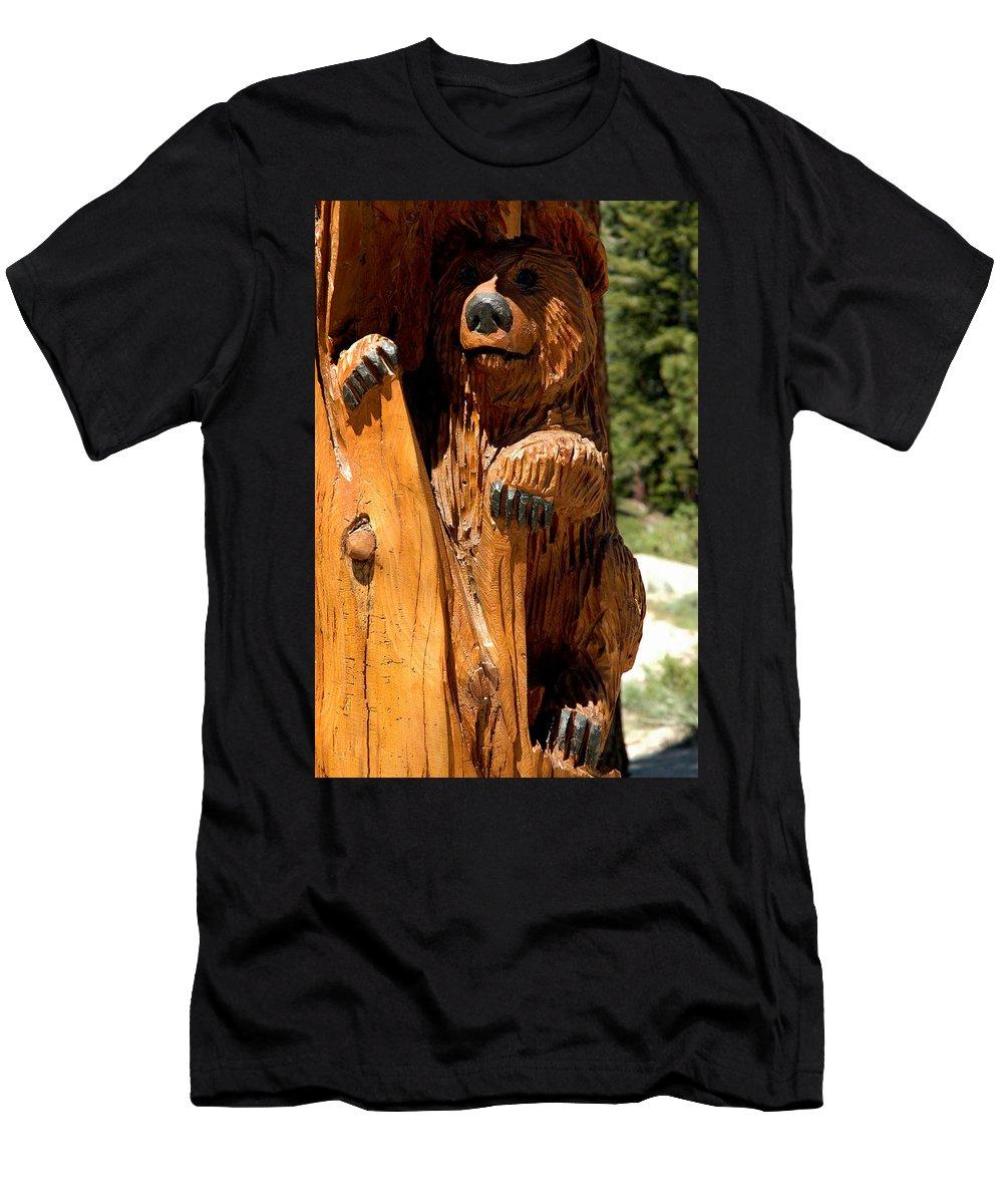 Usa Men's T-Shirt (Athletic Fit) featuring the photograph Bear On Trail by LeeAnn McLaneGoetz McLaneGoetzStudioLLCcom