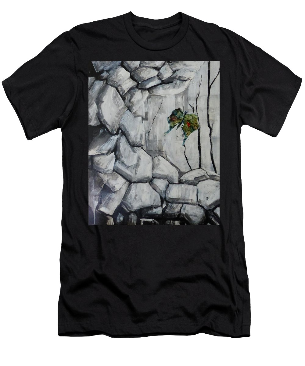 Acrylic Collage Abstract Men's T-Shirt (Athletic Fit) featuring the painting Bear Peak Giant by Monique Gray