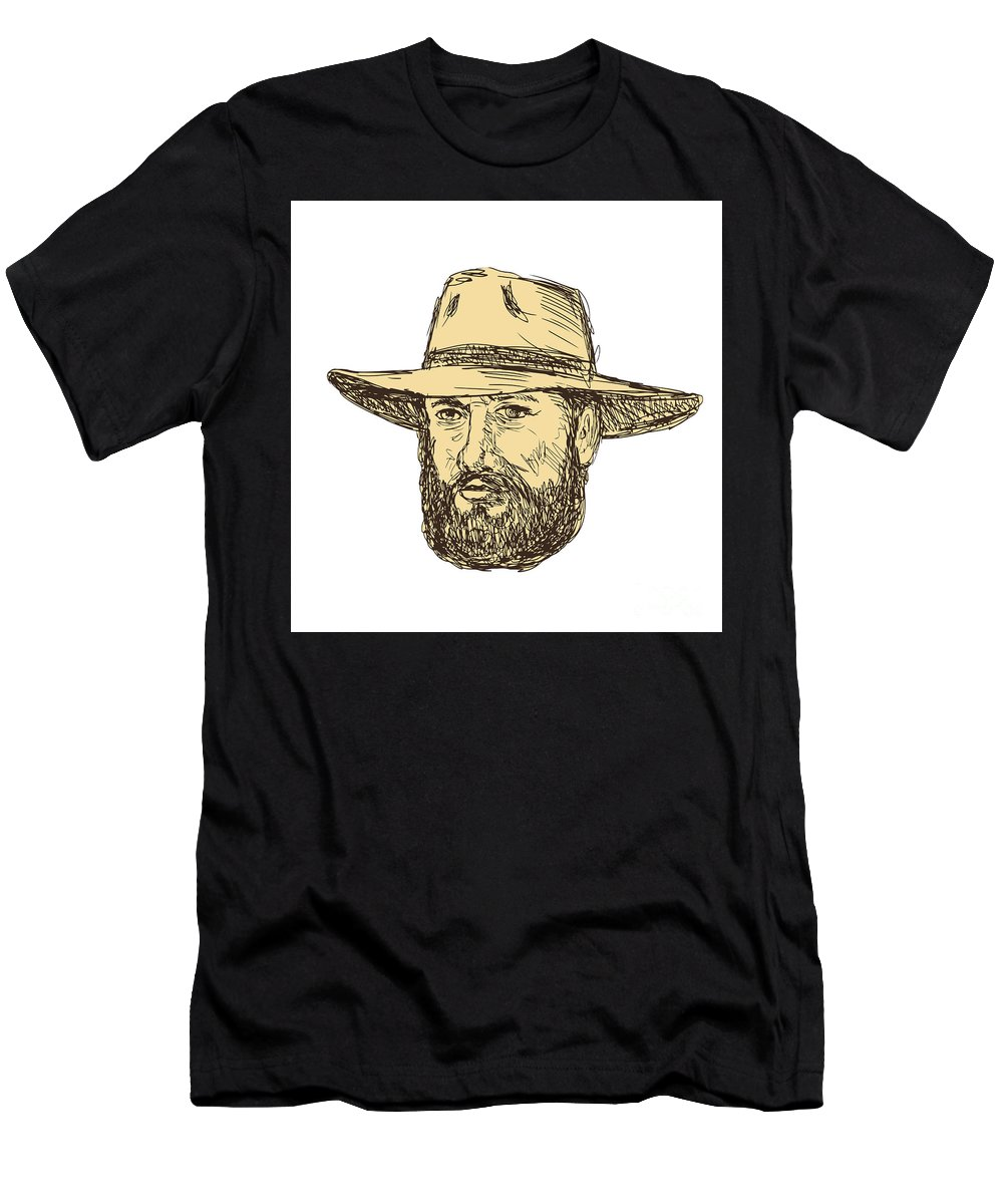 Drawing Men's T-Shirt (Athletic Fit) featuring the digital art Bearded Cowboy Head Drawing by Aloysius Patrimonio