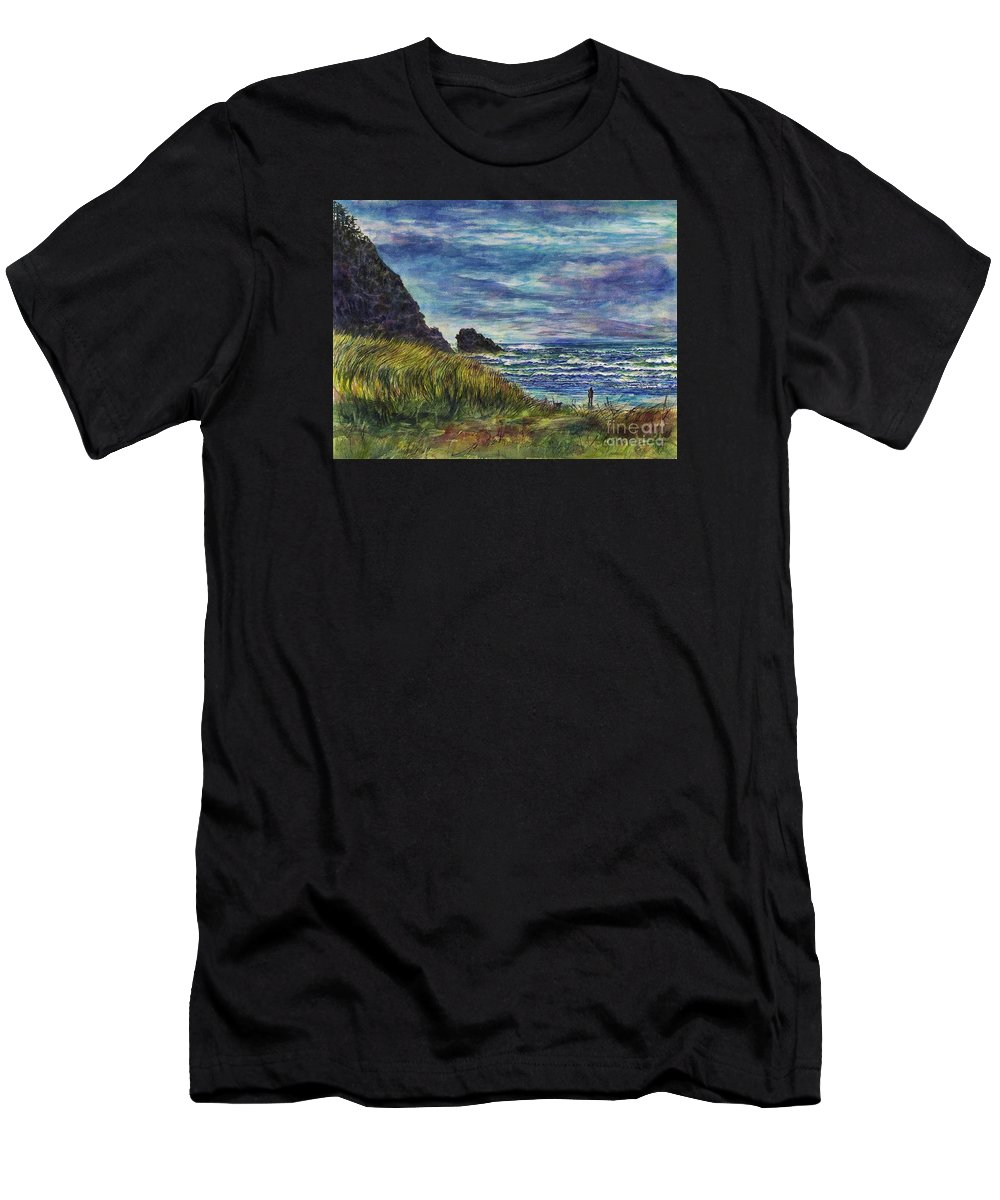 Cynthia Pride Watercolor Paintings Men's T-Shirt (Athletic Fit) featuring the painting Beards Hollow Connection by Cynthia Pride