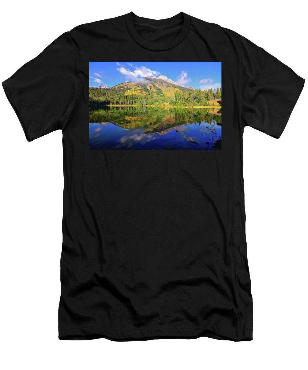Bearpaw Lake Men's T-Shirt (Athletic Fit) featuring the photograph Bearpaw Morning Reflections by Greg Norrell