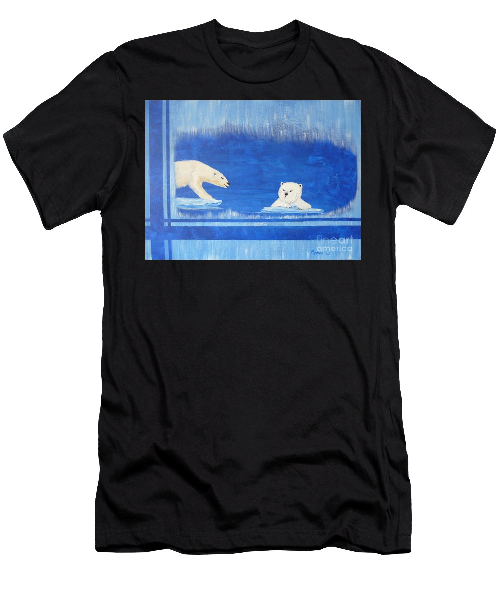 Polar Bear Men's T-Shirt (Athletic Fit) featuring the painting Bears In Global Warming by Monika Shepherdson