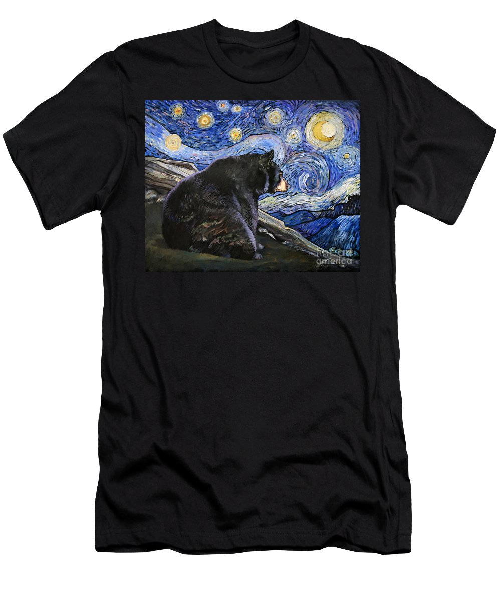 Whimsical Men's T-Shirt (Athletic Fit) featuring the painting Beary Starry Nights by J W Baker