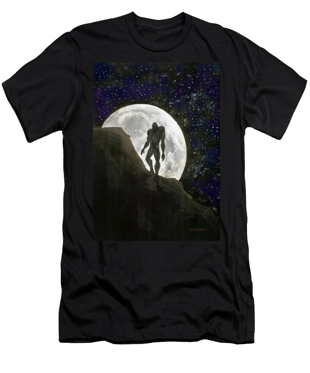 Beast Men's T-Shirt (Athletic Fit) featuring the painting Beast At Full Moon by Kevin Middleton
