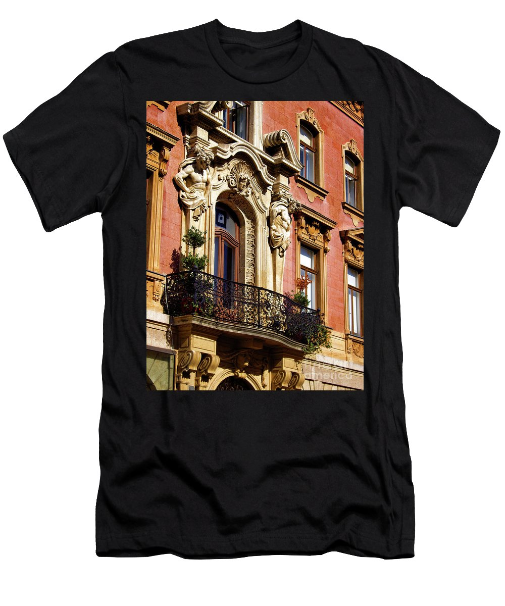 Beautiful Balcony In Austria Men's T-Shirt (Athletic Fit) featuring the photograph Beautiful Balcony In Austria by Mariola Bitner